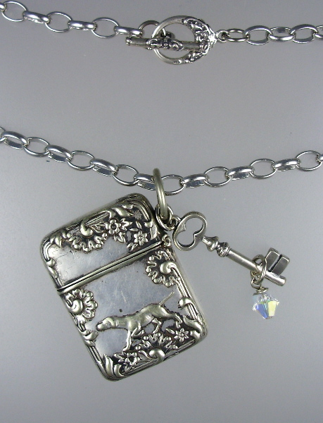 FRENCH Art Nouveau SILVER DOG Stamp Safe Pendant Necklace STERLING KEY Swarovski Crystal-n-dogss