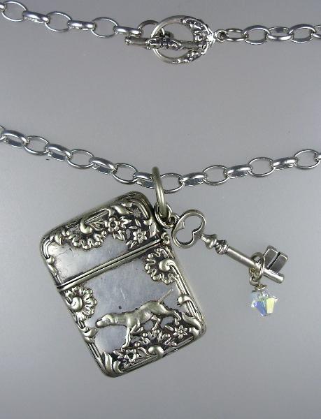 FRENCH Art Nouveau SILVER DOG Stamp Safe Pendant Necklace STERLING KEY Swarovski Crystal-n-dogss