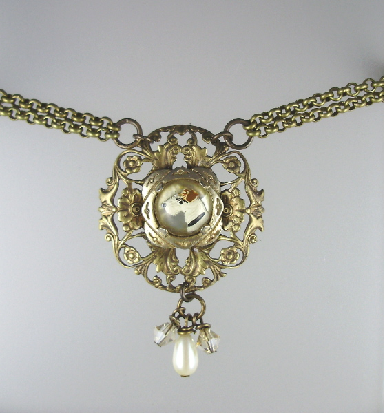 C1940's  Vintage French TERRIER DOG Pendant Necklace Reverse Painted Glass PEARLS Swarovski Crystals-n-dogt