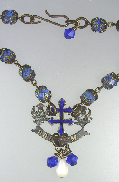 FRENCH Antique Guilloche Enamel Cross LORRAINE Holy St JOAN of ARC Domremy Religious Pendant Necklace Filigree ROSARY Beads-n-dom