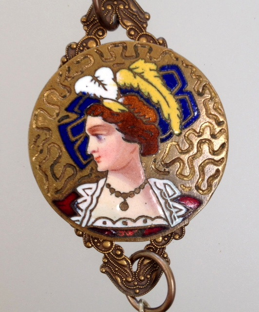Antique FRENCH Victorian Enamel WOMAN Pendant on Filigree PEARL Necklace PARIS-n-enambt