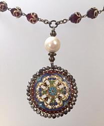 FRENCH Antique CHATELAINE Gilt CHAMPLEVE Enamel Necklace PEARL Drop-n-enambtt