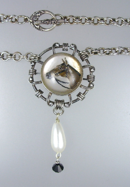 Antique ENGLISH Reverse Painted Mother of PEARL HORSE Head Necklace PENDANT Swarovski Crystal-n-esx