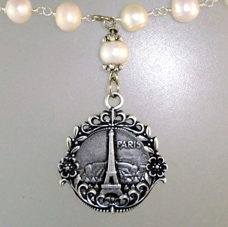 FRENCH Silver LOCKET Arc de Triumph EIFFEL TOWER Medal Freshwater Pearl NECKLACE-n-etarlck