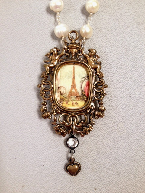FRENCH Bronze Photo LOCKET EIFFEL Tower Freshwater PEARL Necklace ANGELS Heart Charm-n-etfrm