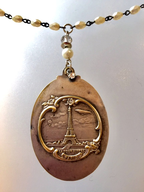 ART NOUVEAU French EIFFEL TOWER Slide MIRROR Locket Charm Necklace-n-etbg