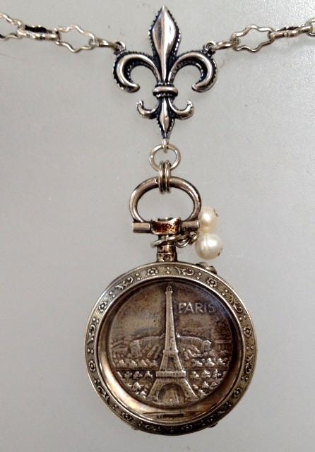 ART Nouveau Antique French STERLING Silver REPOUSSE LOCKET Necklace EIFFEL TOWER -n-etwt