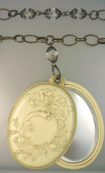 Romantic ANTIQUE French IVORY Slide MIRROR Nouveau PENDANT Necklace-n-fi