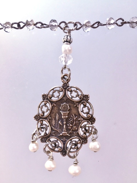 FRENCH Silver Filigree FIRST COMMUNION Necklace CHALICE Pearls-n-filcom