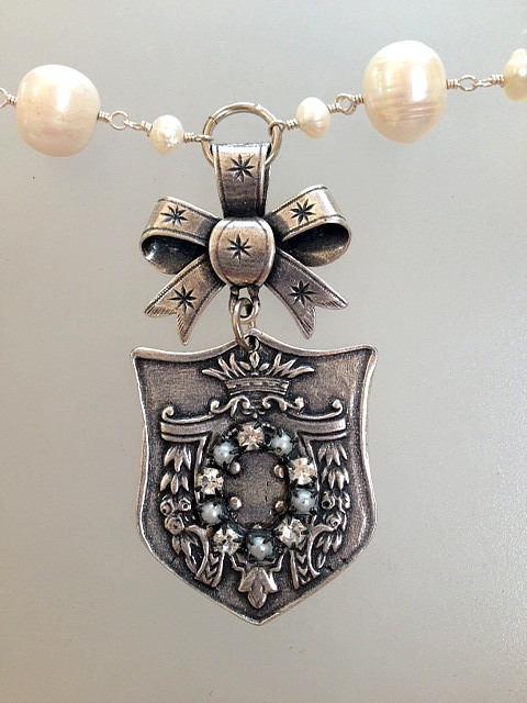 FRENCH Silver Watch Fob Tag FLEUR de LIS Crown ROSES Acanthus Charm PEARL Necklace-n-fobst