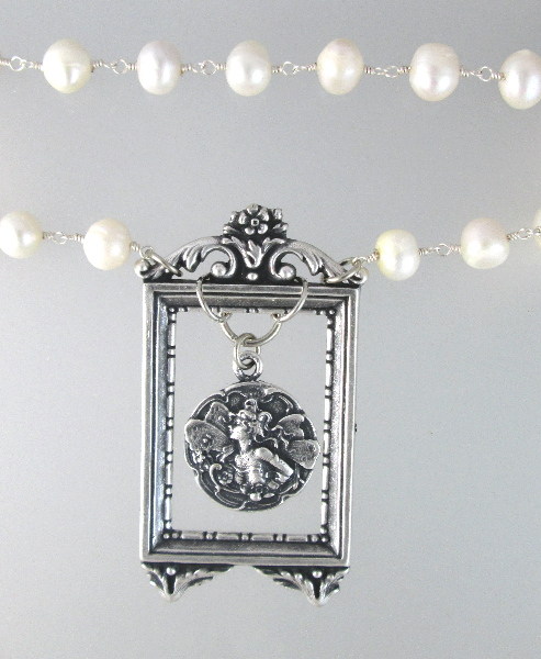 English ART Nouveau SILVER FAIRY Charm in FRENCH Frame NECKLACE on PEARLS-n-fryfrm