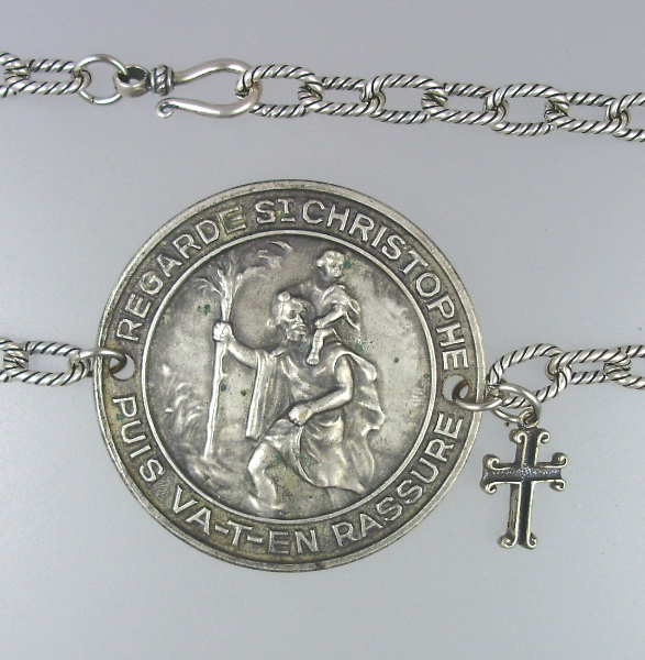 Religious FRENCH Antique Silver SAINT CHRISTOPHER Medal NECKLACE Cross-n-fstc