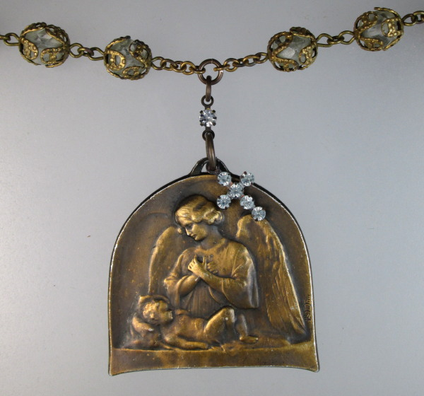 ANTIQUE French GUARDIAN ANGEL PENDANT Necklace Crystal ROSARY Beads RHINESTONE Cross-n-gaclr