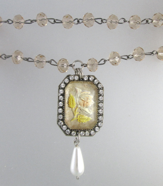 ANTIQUE French ROSE GOOFUS Glass Pearl Crystal NECKLACE Pendant -n-gfu