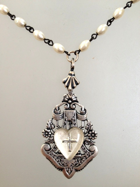 Antique FRENCH Glass HEART Cross Medal Silver Filigree Necklace PEARLS-n-gh