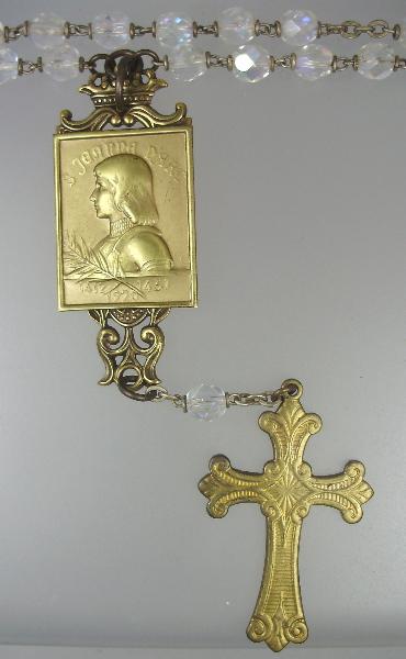 FRENCH Antique Religious Saint JOAN of ARC Medal CROSS Aurora Borealis ROSARY BEADS Pendant NECKLACE-n-gja