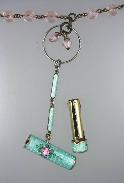 Antique Sterling SILVER GUILLOCHE Enamel PINK ROSE Chatelaine LIPSTICK Pendant Necklace Faceted Beads Swarovski Crystals-n-glip
