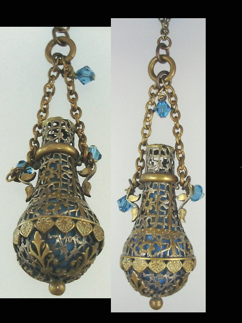 FRENCH Antique Gothic Filigree Glass Lined Perfume Bottle Pendant Necklace Crystal Beads Turquoise -n-gothp