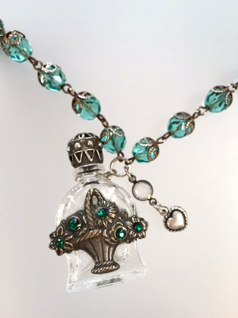 Antique French CHATELAINE Perfume SCENT Bottle Necklace GREEN Stones ROSE BASKET Heart Charm-n-grnprf