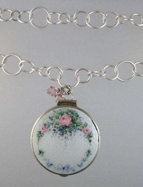 STERLING Silver FRENCH Antique Pink ROSES GUILLOCHE Enamel CHATELAINE Compact Pendant Necklace -n-guicmp