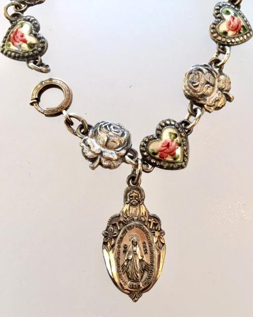 RELIGIOUS Antique 1920s STERLING Silver GUILLOCHE Enamel CHARM BRACELET Saints ROSES-n-guirelz