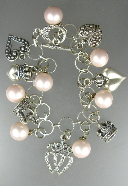 2 PCS FRENCH Style Sterling Silver Charm BRACELET NECKLACE with HEARTS and CROWNS PINK Luster PEARLS-n-hcpkp