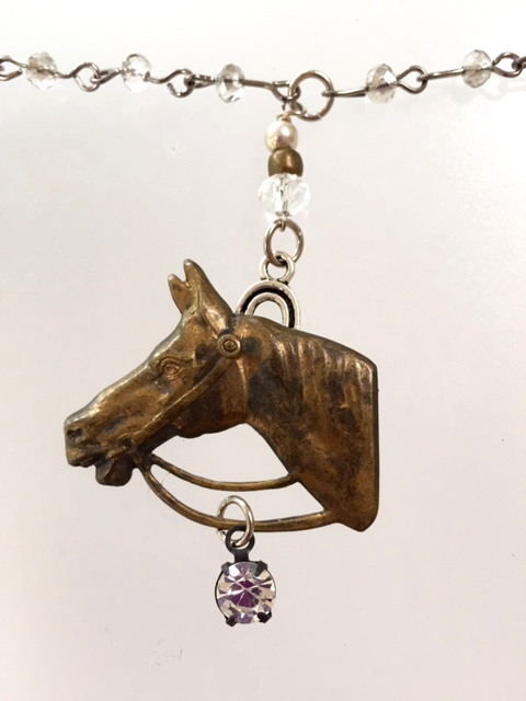 Equestrian Horse Head Charm Crystal Necklace Rhinestone Drop HORSESHOE-n-hrs