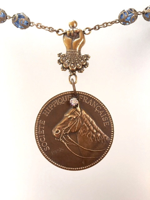 FRENCH Antique Bronze 1938 PARIS Equestrian Medal Necklace-n-hrsparis