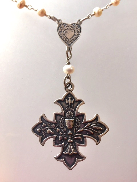 FRENCH Gothic First COMMUNION Cross HEART Medal Necklace PEARLS-n-hrtgcrs