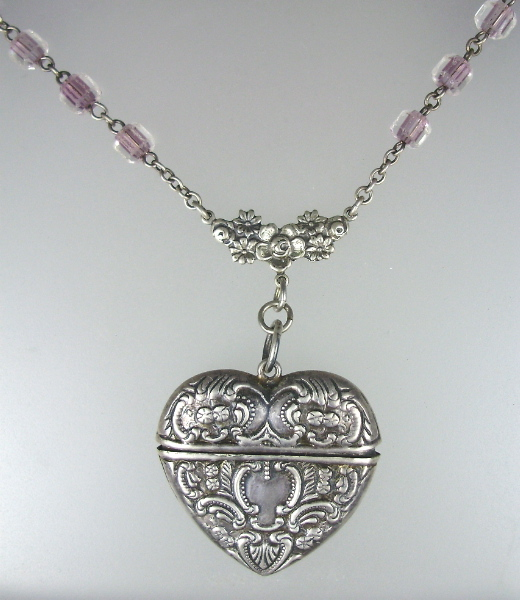 FRENCH Art Nouveau Sterling 925 SILVER HEART Stamp Safe Antique French Rosary CRYSTAL-n-hrtss