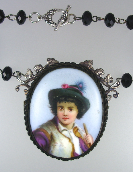 Italian Antique Child Painted Porcelain Pendant Necklace STERLING Silver Vines Black Crystals-n-iboy