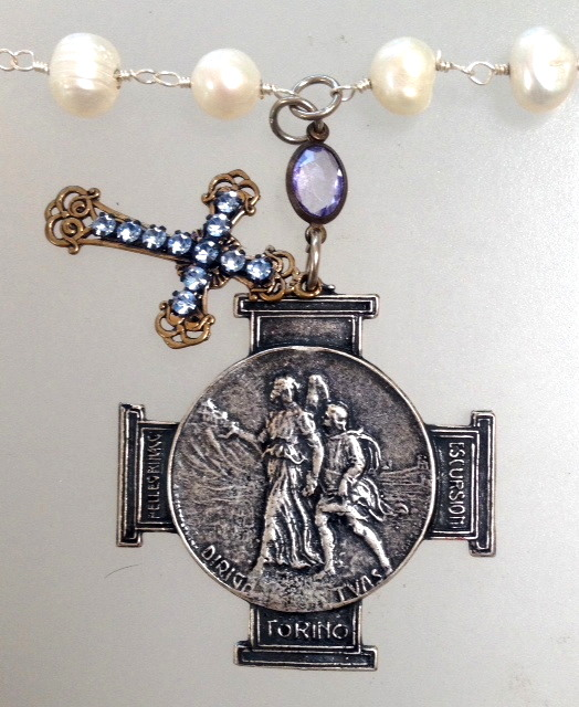 Italian Silver GUARDIAN ANGEL Charm Necklace Rhinestone CROSS Pearls-n-itgaslv