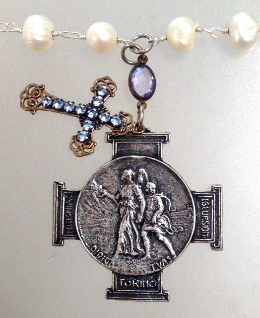 Italian Silver GUARDIAN ANGEL Charm Necklace Rhinestone CROSS Pearls-n-itgaslv
