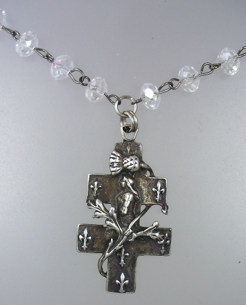 French Saint  JOAN of ARC Sterling Silverplate Pendant Aurora Borealis Crystal Beads NECKLACE-n-jaab
