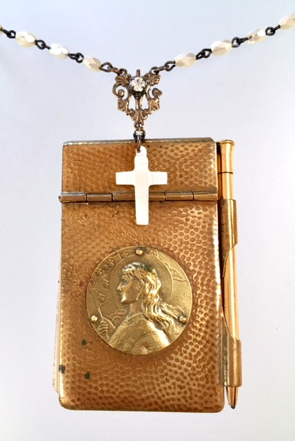 FRENCH Antique CHATELAINE Saint JOAN of ARC Art Nouveau Repousse CARNET de BAL Book Souvenir Book-n-jaam