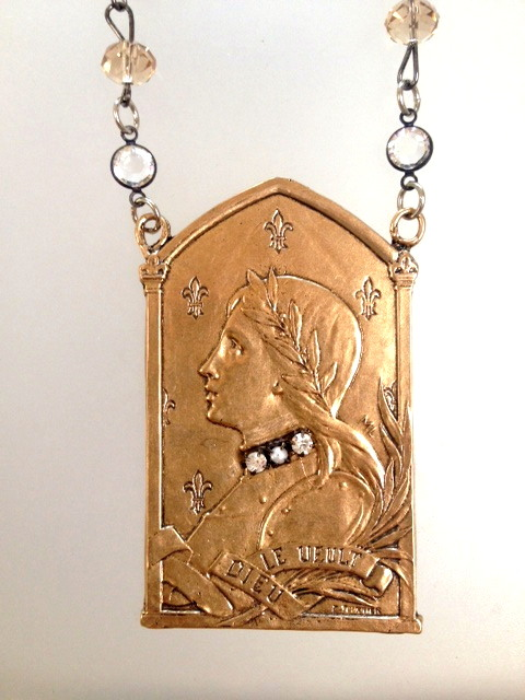 French BRONZE Saint JOAN of ARC Pendant AMBER Crystal NECKLACE Rhinestones PEARLS-n-jablrg