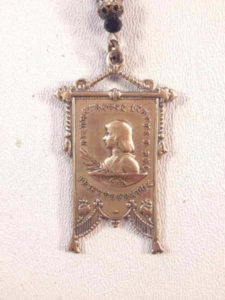 Bronze FRENCH Saint JOAN of ARC Sports Medal BANNER Crystal Beads NECKLACE FGSPF-n-jabnn