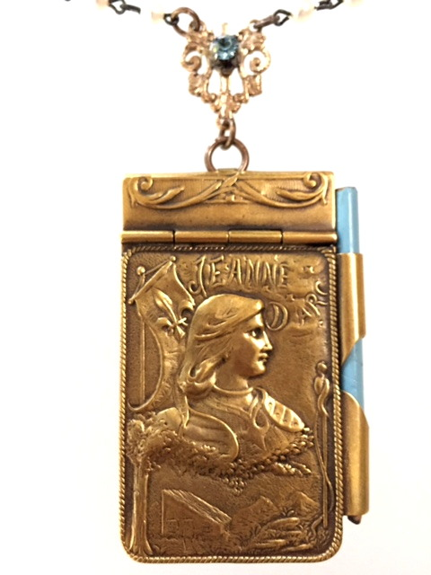 FRENCH Antique CHATELAINE Saint JOAN of ARC Art Nouveau Repousse CARNET de BAL Book Souvenir Book-n-jacdb