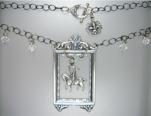 French ART NOUVEAU Style 925 SILVER ST Saint JOAN of ARC on HORSEBACK in Frame Pendant NECKLACE Swarovski Crystals-n-jafrm