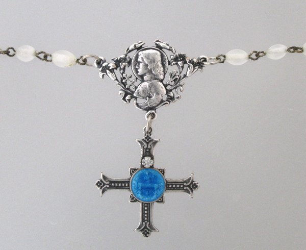 Antique FRENCH Opaque White ROSARY BEADS Silver Saint JOAN of ARC and CROSS Medal GUILLOCHE Bruges-n-jaguir