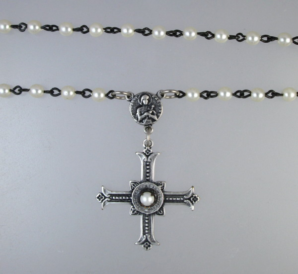 ST JOAN of ARC Religious Silver FRENCH Gothic CROSS Jesus SACRED HEART Pearls IHS-n-jaivp