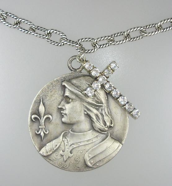 LARGE French Antique Religious Saint JOAN of ARC Medal Pendant  NECKLACE Rhinestone CROSS Horseback-n-jalrgfdl