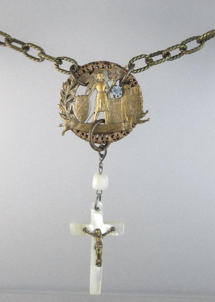 FRENCH Antique  Saint JOAN of ARC Charm MOTHER of PEARL Cross Bead RHINESTONE-n-jamop