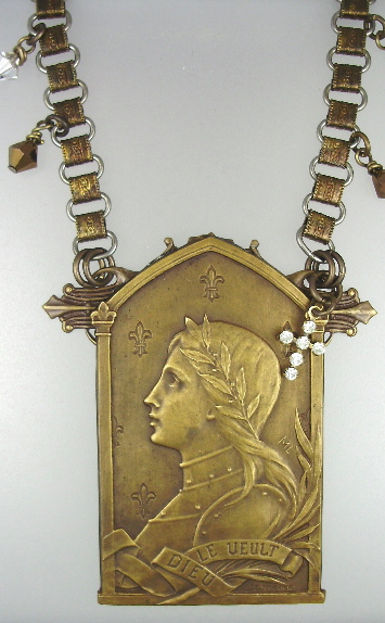 French ART NOUVEAU C1890 Saint JOAN of ARC Pendant BOOK Chain NECKLACE Rhinestone CROSS-n-japlq