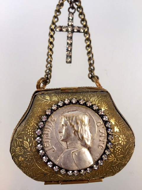 FRENCH Antique St JOAN of ARC Gilt Coin PURSE Necklace MOTHER of PEARL Beads CROSS-n-japrs