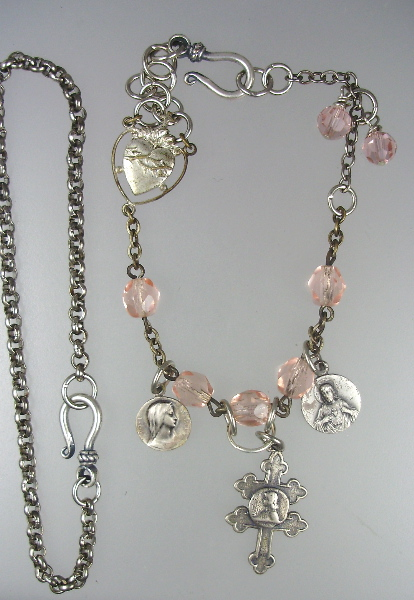 2 PIECES Antique C1900 FRENCH Religious Saint JOAN of ARC Virgin Mary Sacred Heart JESUS Charm BRACELET NECKLACE with Cross LORRAINE Pink Rose Rosary Beads Swarovski Crystals-n-jarosr
