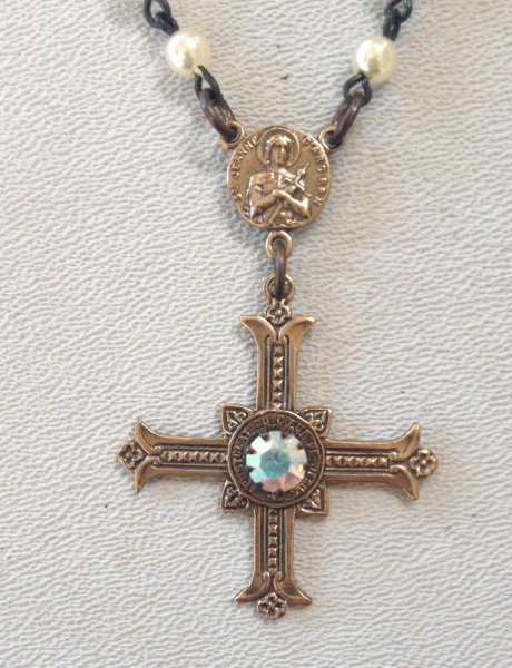 ST JOAN of ARC Religious BRONZE FRENCH Gothic CROSS Jesus SACRED HEART Pearls IHS Black Crystals-n-jash