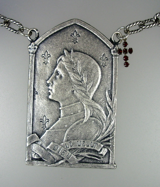 French ART NOUVEAU Style Saint JOAN of ARC Pendant Link Chain NECKLACE Rhinestone CROSS-n-jaslvp
