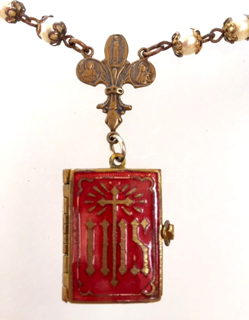 FRENCH Antique C1890 JESUS Christ Art Nouveau RED ENAMEL Cross Souvenir Photo Book LOCKET-n-jesusbk