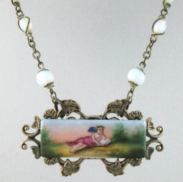 French LIMOGE Antique Painted Porcelain  ANGEL Book Pendant Necklace OPAL Glass Beads- n-jlpr